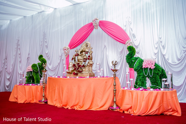 Gorgeous Ganesh altar. in Edison, NJ Indian Wedding by House of Talent Studio