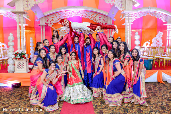 Funny image of indian bridesmaids and groomsmen. in Edison, NJ Indian Wedding by House of Talent Studio