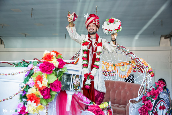 Indian groom ready with bride's bouquet. in Edison, NJ Indian Wedding by House of Talent Studio