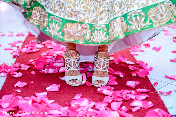 Indian bride wearing lovely white high heels and anklet bracelets. in Edison, NJ Indian Wedding by House of Talent Studio