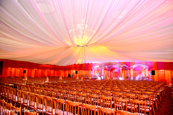 Draped wedding ceremony ceiling decoration. in Edison, NJ Indian Wedding by House of Talent Studio