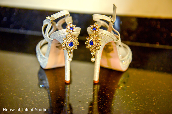 Glittery silver wedding shoes and blue and gold earrings for indian bride. in Edison, NJ Indian Wedding by House of Talent Studio