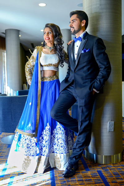 Indian Bride And Groom In Matching Blue Reception Outfits