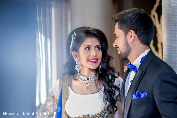Lovely portrait of indian bride and groom ready for their reception. in Edison, NJ Indian Wedding by House of Talent Studio