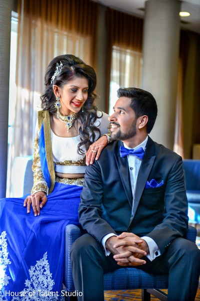 Indian bride and groom pre-wedding reception portrait. in Edison, NJ Indian Wedding by House of Talent Studio