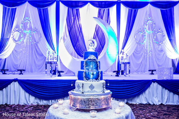 White and blue themed indian wedding reception. in Edison, NJ Indian Wedding by House of Talent Studio