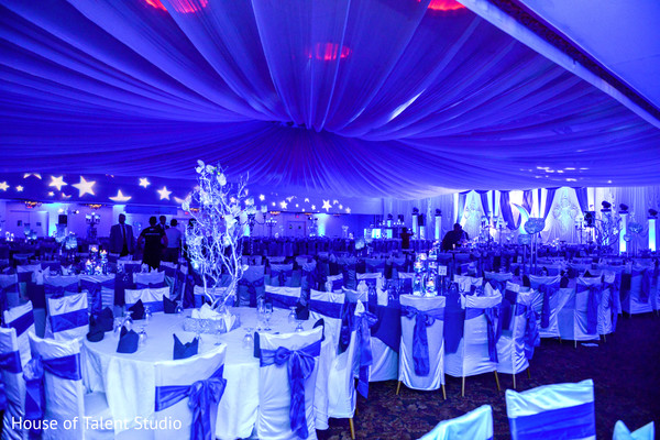 White and blue themed indian wedding floral and decor. in Edison, NJ Indian Wedding by House of Talent Studio