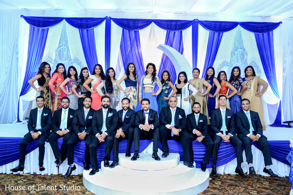 Indian bridesmaids and groomsmen with bride and groom at their wedding reception. in Edison, NJ Indian Wedding by House of Talent Studio