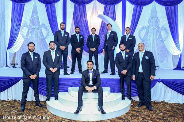 Indian groomsmen posing together with the groom. in Edison, NJ Indian Wedding by House of Talent Studio