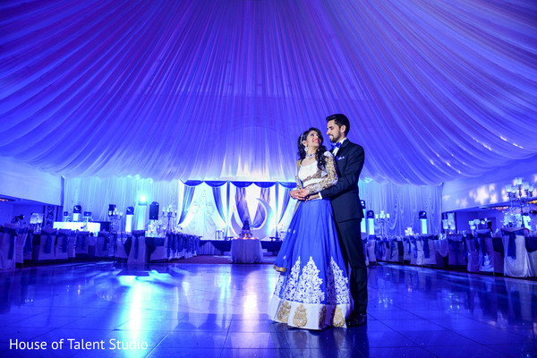 white and blue decoration,indian wedding photography,indian bride and groom,indian wedding reception