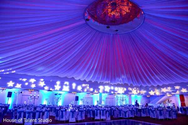 Beautiful draped ceiling and star lights decoration for indian wedding reception. in Edison, NJ Indian Wedding by House of Talent Studio