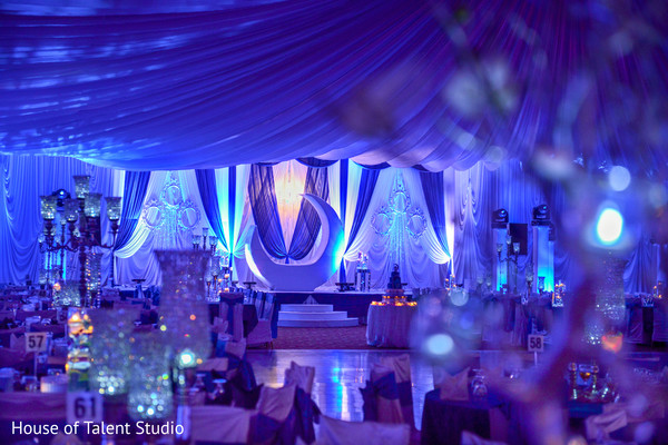 Gorgeous white and blue indian wedding reception decoration. in Edison, NJ Indian Wedding by House of Talent Studio