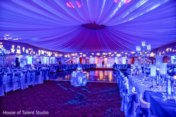 Fabulous view of night sky themed indian wedding reception. in Edison, NJ Indian Wedding by House of Talent Studio
