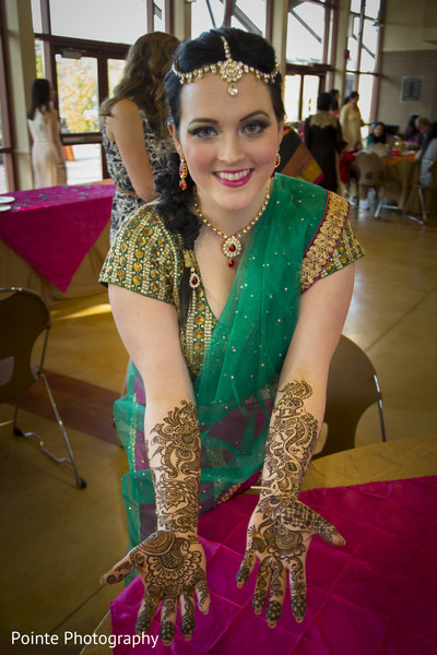 Lovely mehndi designs in Detroit, Michigan Fusion Wedding by Pointe Photography