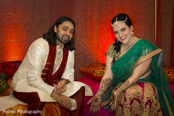 Indian couple during Mehndi party in Detroit, Michigan Fusion Wedding by Pointe Photography