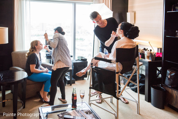Lovely bride getting her hair and makeup in Detroit, Michigan Fusion Wedding by Pointe Photography