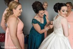 bride getting ready,white wedding dress,maharani