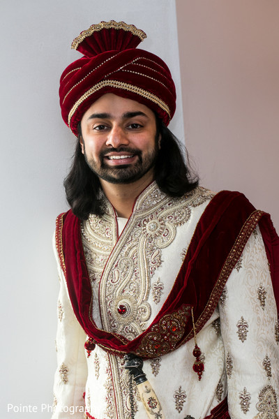 Indian groom before baraat in Detroit, Michigan Fusion Wedding by Pointe Photography