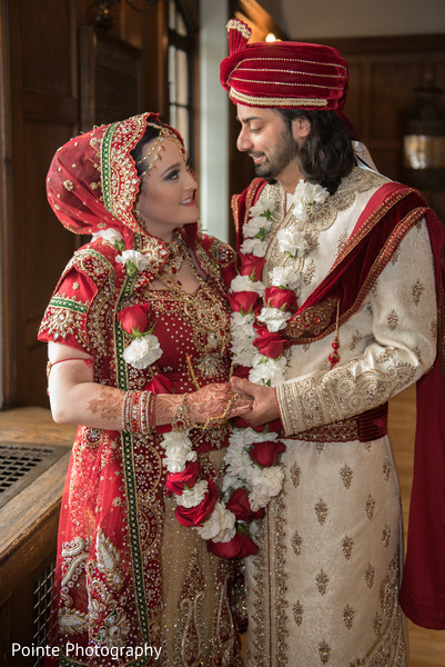 red turban,red sari,matching bridal outfits