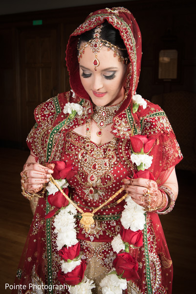Lovely maharani in red wedding sari in Detroit, Michigan Fusion Wedding by Pointe Photography