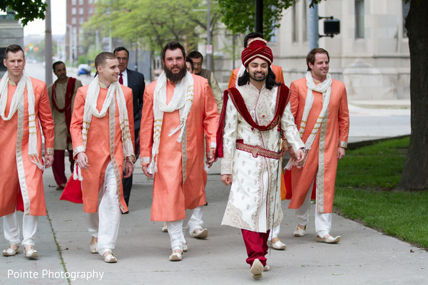 Indian groom starting Baraat with groomsmen in Detroit, Michigan Fusion Wedding by Pointe Photography