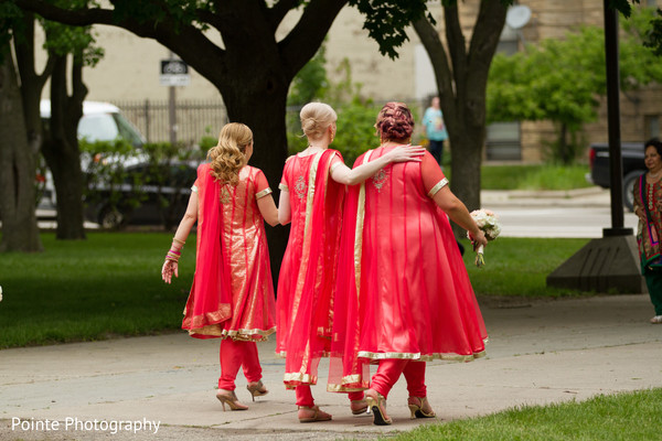 Lovely saris for bridesmaids in Detroit, Michigan Fusion Wedding by Pointe Photography