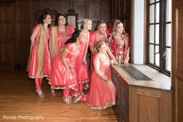 Maharani and her bridesmaids in Detroit, Michigan Fusion Wedding by Pointe Photography