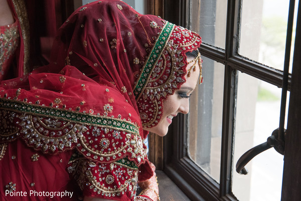 Beautiful detailed sari in Detroit, Michigan Fusion Wedding by Pointe Photography