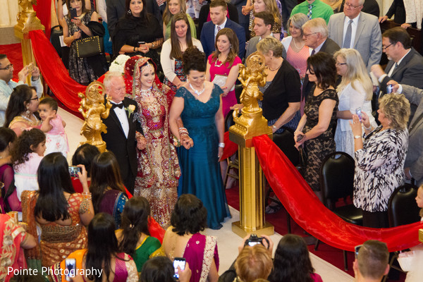 Maharani making her entrance to wedding ceremony in Detroit, Michigan Fusion Wedding by Pointe Photography
