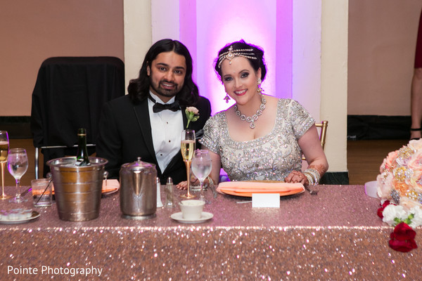Beautiful couple in their wedding reception in Detroit, Michigan Fusion Wedding by Pointe Photography