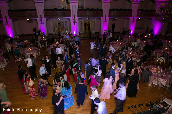 Beautiful Indian wedding reception setting in Detroit, Michigan Fusion Wedding by Pointe Photography