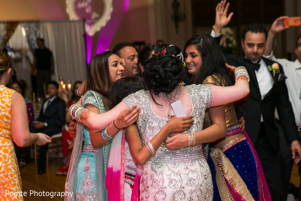 Maharani and friends during wedding reception in Detroit, Michigan Fusion Wedding by Pointe Photography