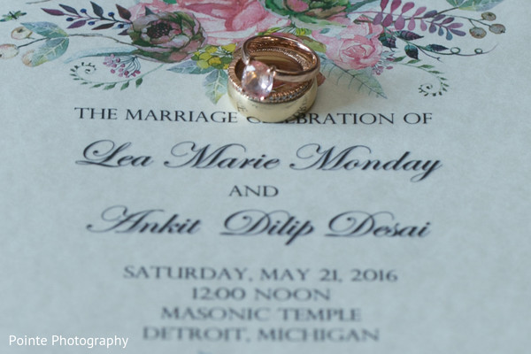 Beautiful wedding invitations in Detroit, Michigan Fusion Wedding by Pointe Photography