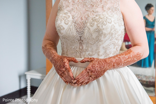 Lovely details in Maharani's white wedding dress in Detroit, Michigan Fusion Wedding by Pointe Photography