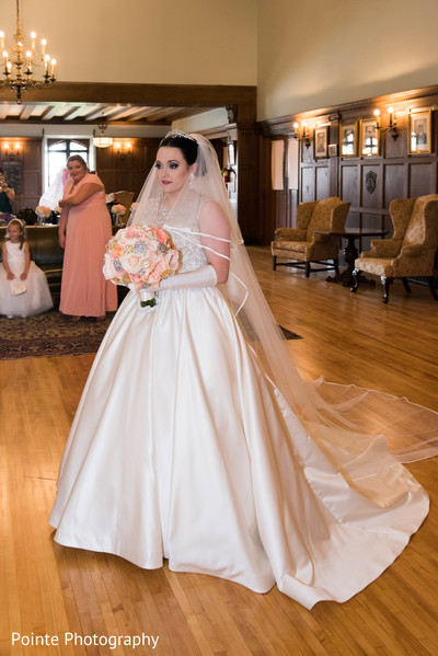 Lovely maharani in her white wedding dress in Detroit, Michigan Fusion Wedding by Pointe Photography