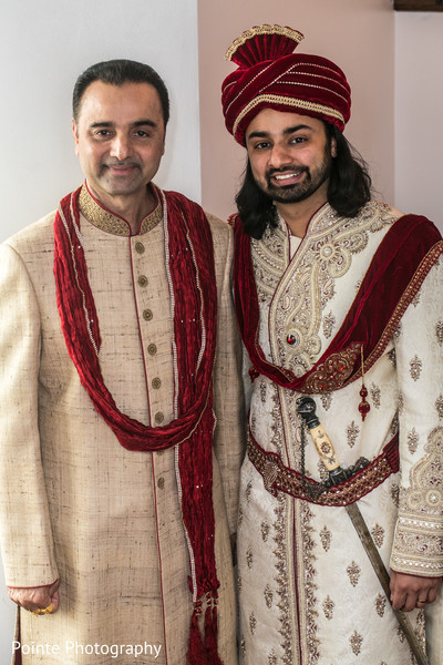 Indian groom with friends in Detroit, Michigan Fusion Wedding by Pointe Photography