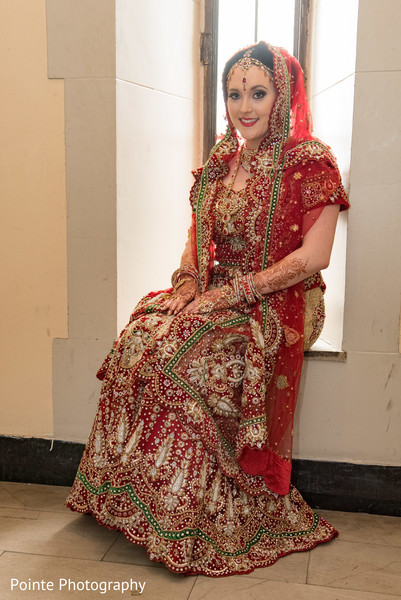 Maharani in her bridal sari in Detroit, Michigan Fusion Wedding by Pointe Photography