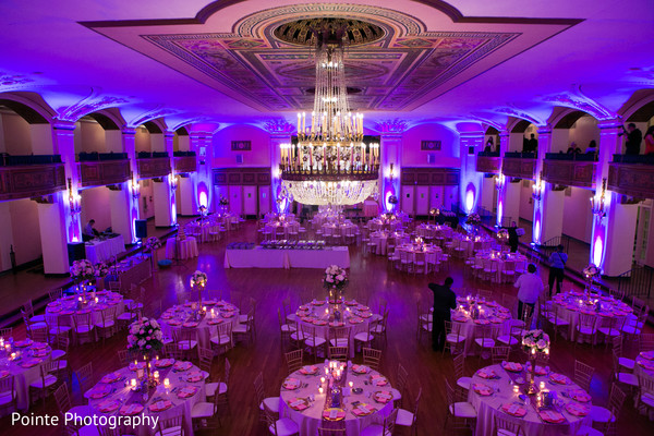 Beautiful setting for Indian wedding reception in Detroit, Michigan Fusion Wedding by Pointe Photography