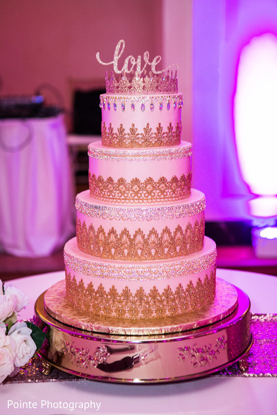 Beautifully detailed wedding cake in Detroit, Michigan Fusion Wedding by Pointe Photography
