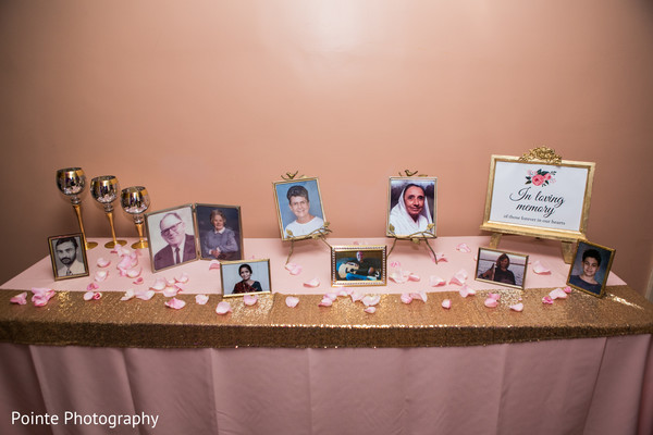"Beautiful ""In loving memory"" table in Detroit, Michigan Fusion Wedding by Pointe Photography"