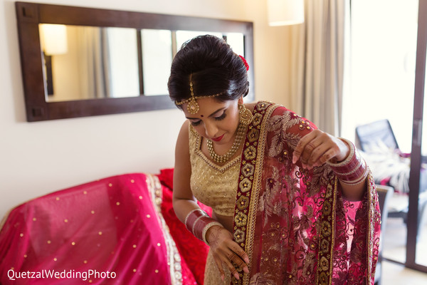 Bride Getting Ready in Barcelo Riviera Maya Sikh Wedding by QuetzalPhoto