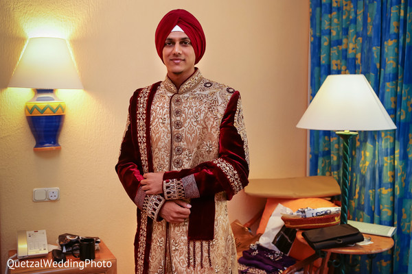 Indian Groom Getting Ready in Barcelo Riviera Maya Sikh Wedding by QuetzalPhoto