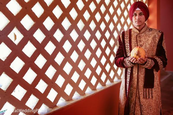 Indian Groom Portrait in Barcelo Riviera Maya Sikh Wedding by QuetzalPhoto