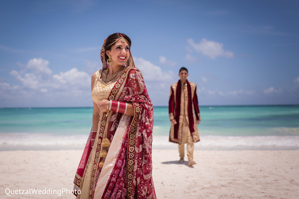 Bride and Groom Portrait in Barcelo Riviera Maya Sikh Wedding by QuetzalPhoto