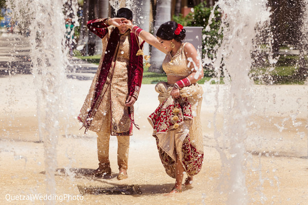 Bride and Groom Wedding Day Portrait in Barcelo Riviera Maya Sikh Wedding by QuetzalPhoto