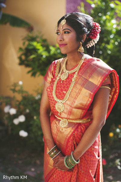 South Indian bride in a Kanjeevaram Sari in San Jose, CA, Indian Wedding by Rhythm Krishna Mohan