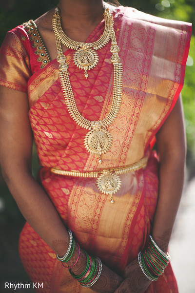South Indian bridal outfit details in San Jose, CA, Indian Wedding by Rhythm Krishna Mohan