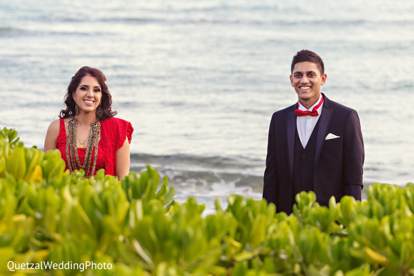 Bride and Groom Reception Portrait in Barcelo Riviera Maya Sikh Wedding by QuetzalPhoto