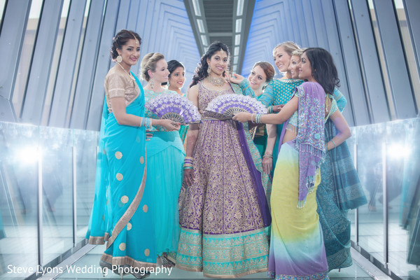 Bride and Bridesmaids in Columbus, Ohio Indian Wedding by Steve Lyons Wedding Photography
