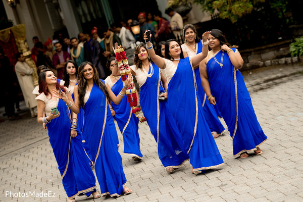 indian bridesmaids,blue sarees,indian wedding photography